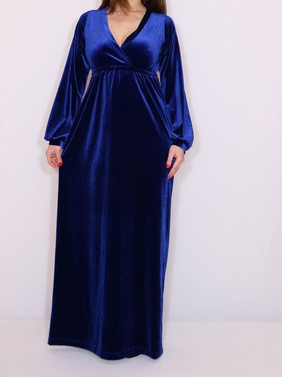 maxi sleeve clothing Blue velvet Maternity Long dress Empire dress dress waist fpxRaxwPq