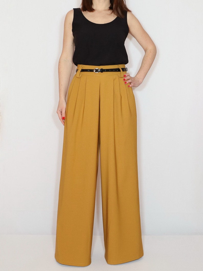 1930s Wide Leg Pants and Beach Pajamas     Mustard yellow wide leg pants with pockets $65.00 AT vintagedancer.com