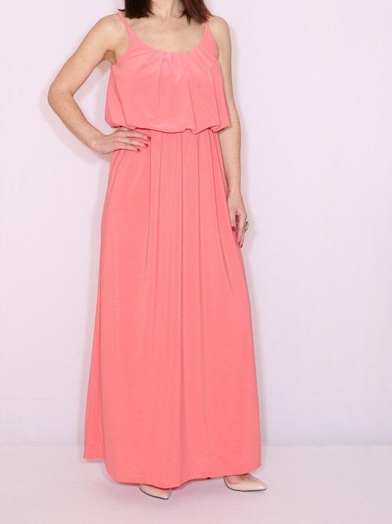 Coral maxi dress bridesmaid dress Long dress Salmon pink Maxi dress
