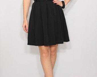 Black mini skirt with pockets Chiffon skirt High waisted skirt