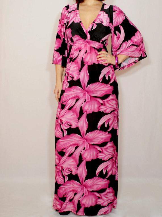 0681653ea59 Maxi dress Kimono dress Hawaiian dress Floral maxi dress