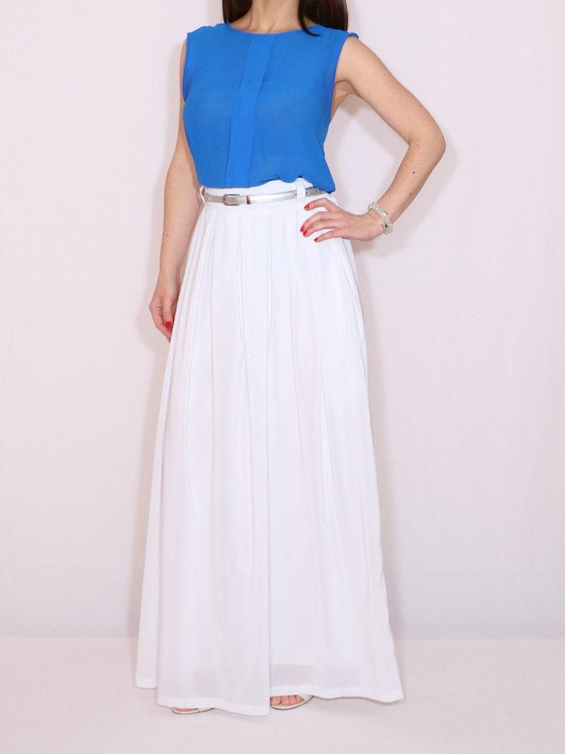 639b729016468 White maxi skirt Chiffon wedding skirt White chiffon skirt White chiffon  skirt with pockets