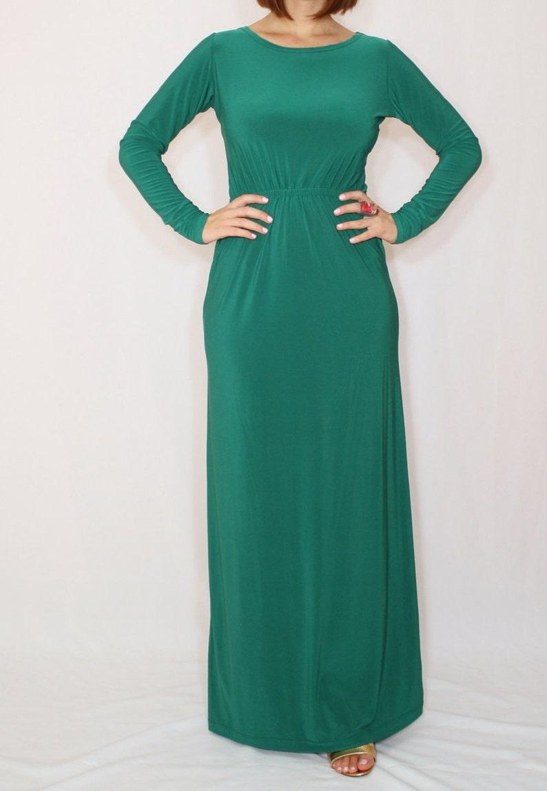 Grünes Maxi-Kleid Long Ärmel smaragdgrün Kleid Damen robe