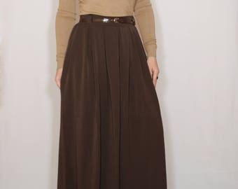 Brown wool skirt Women long skirt High waisted maxi skirt with pockets