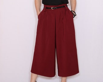 Wine red culotte pants High waist Wide leg capris with pockets