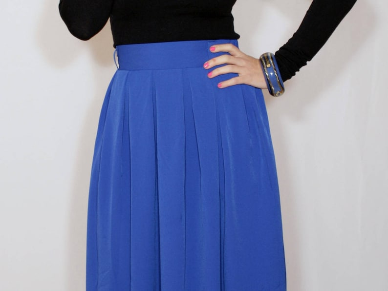 5fae6cfeddd3 Cobalt blue chiffon maxi skirt with pockets Women skirt Long   Etsy