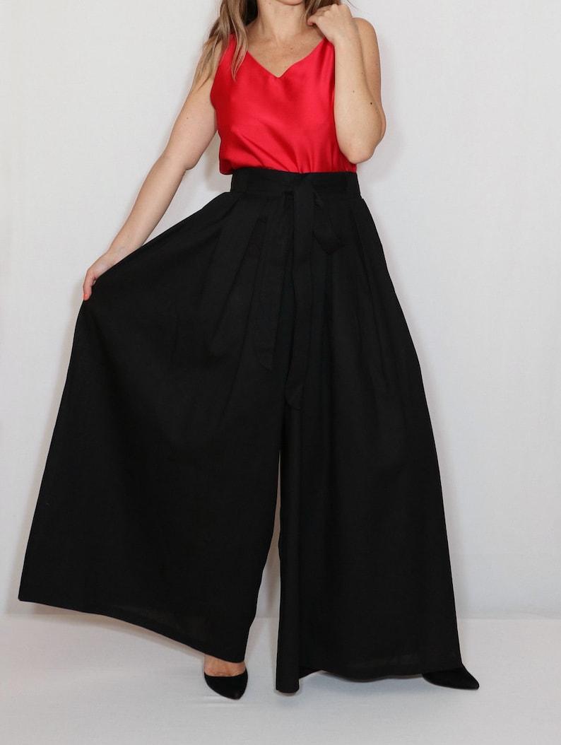 36a7cd4678c Black palazzo pants black linen pants plus size clothing