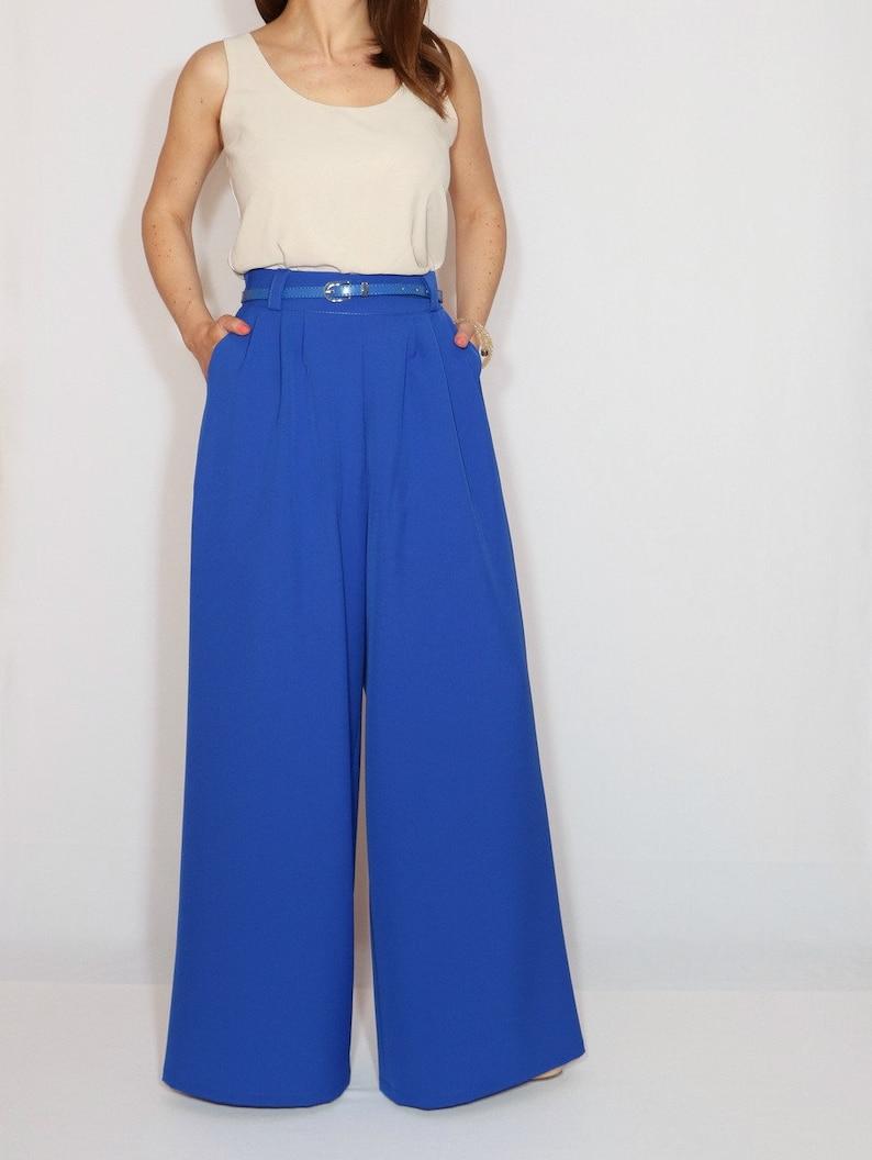 bd7fa91df2b Royal blue formal pants wide leg trousers office wear