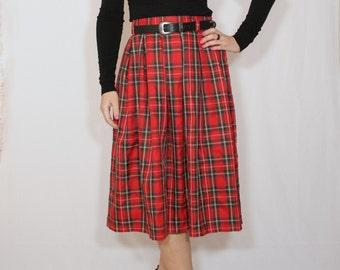Red plaid skirt Tartan skirt Women midi skirt High waist skirt with pockets