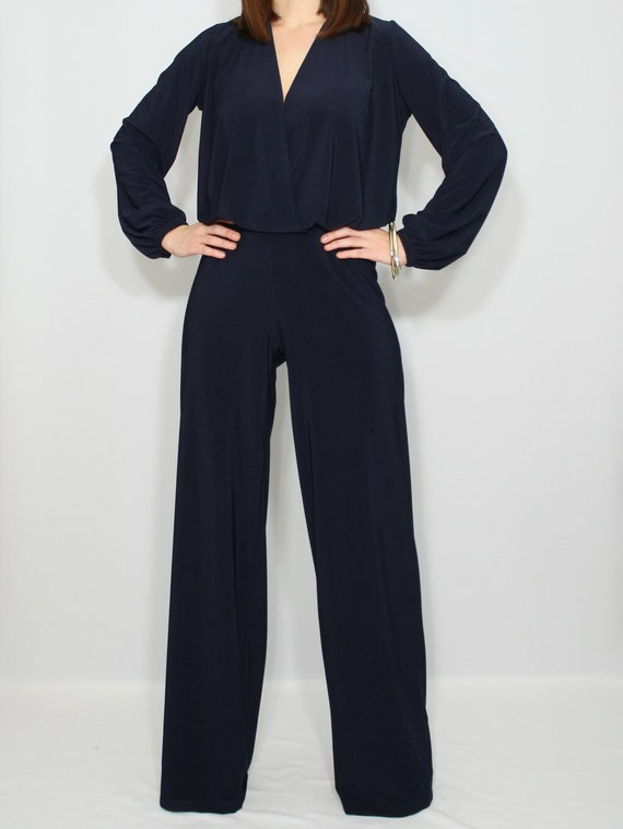 d0c8d9a4d7a2 Navy blue jumpsuit long sleeve jumpsuit
