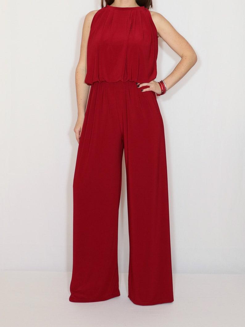 482875c3c079 Wine red wide leg jumpsuit women Burgundy red halter top