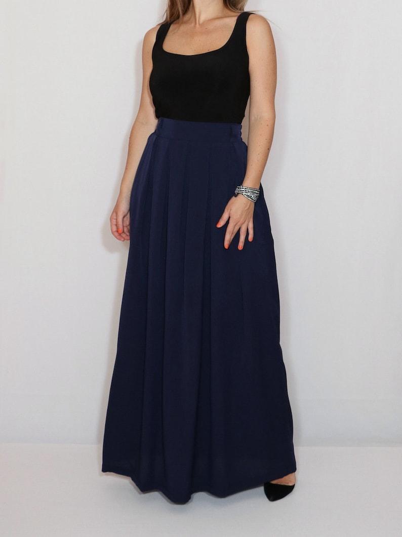 aba8060c5e22 Navy blue maxi skirt with pockets chiffon long skirt | Etsy