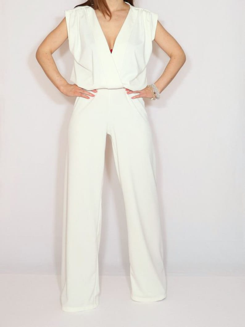 promo code 23bfc 69123 Weißer Jumpsuit, Hochzeits-Jumpsuit verpackt Top-Jumpsuit