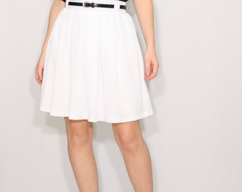 White skirt Short skirt with pockets Chiffon skirt High waisted skirt