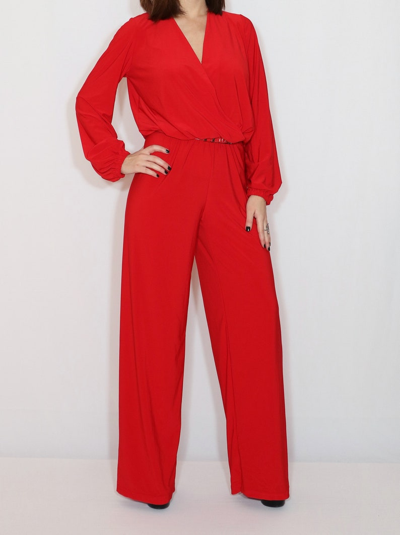 78ad68a94ccb Red jumpsuit red long sleeve jumpsuit 80s style jumpsuit