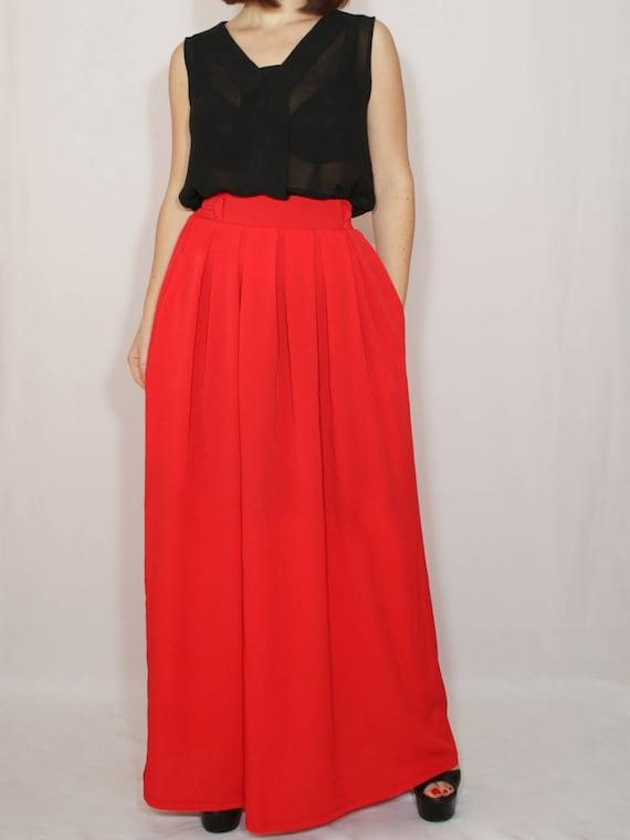 Red Chiffon Skirt