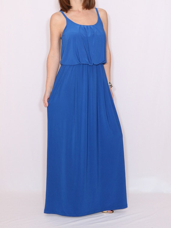 Cobalt blue maxi dress, royal blue long dress, sundress, bridesmaid dress