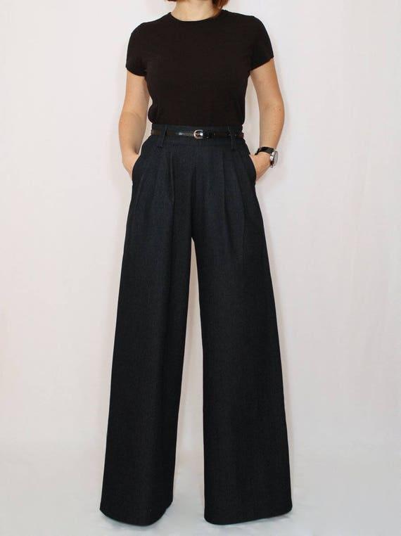 Jeans a gamba larga nera per donne, jeans a vita alta, jeans plus size, pantaloni in denim