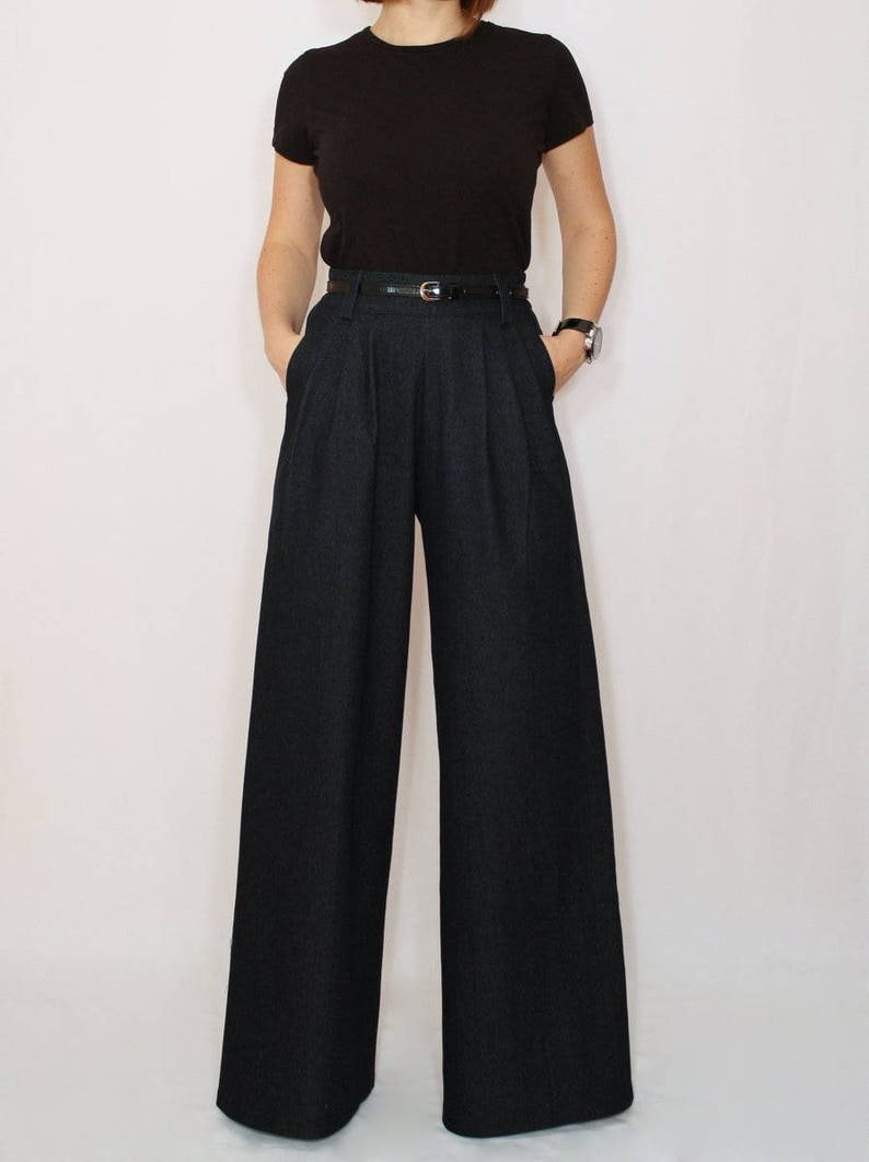 Black wide leg jeans for women high waist jeans plus size image 0
