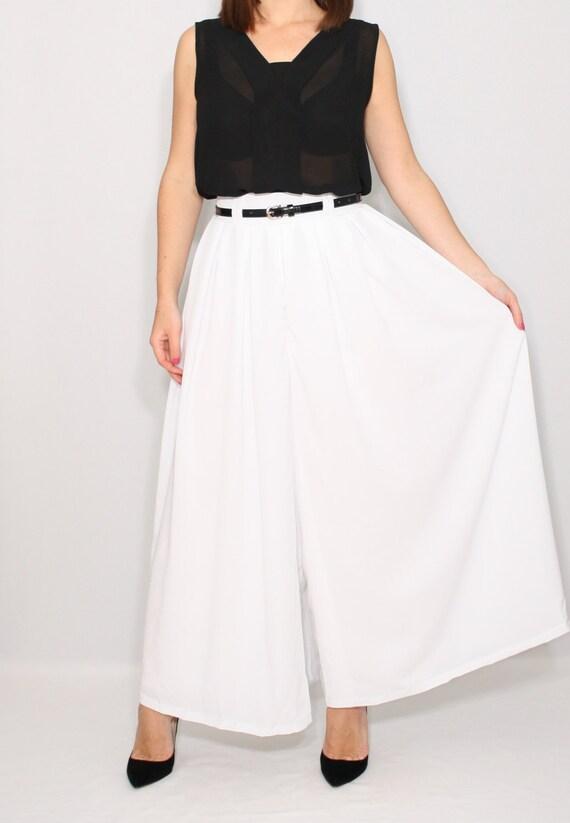 White Palazzo Pants Women Pant Skirt Summer Pants Wedding Etsy