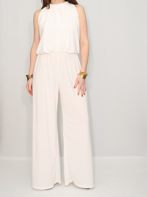 Ivory Jumpsuit Women Wedding Jumpsuit Off White Bridesmaid Etsy