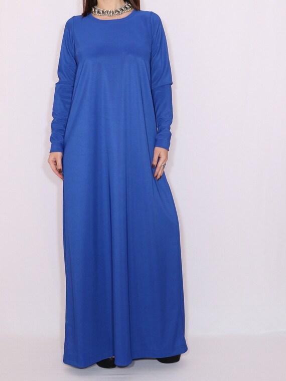 Blue maxi dress Kaftan dress Maternity dress Boho dress Plus size dress  Long dress Long sleeve dress Loose fit dress Royal blue dress