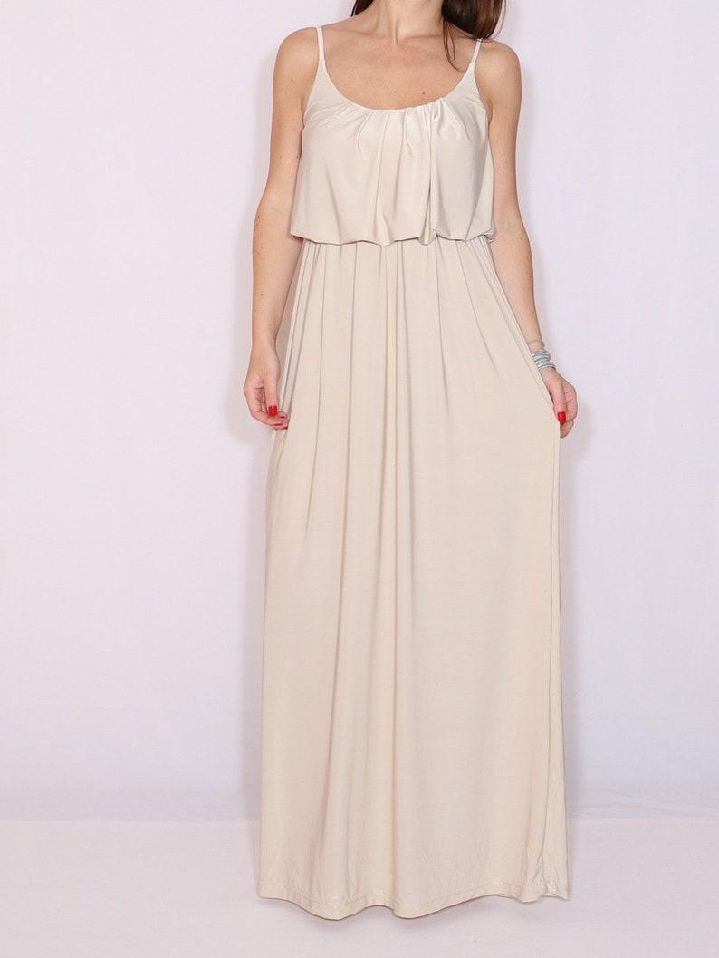 d47d10c14e0 Bridesmaid dress beige Maxi dress Wedding Boho dress Summer