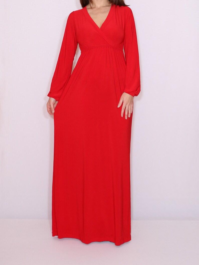 Rotes Maxi-Kleid rotes langes Kleid Langarm Maxi-Kleid | Etsy