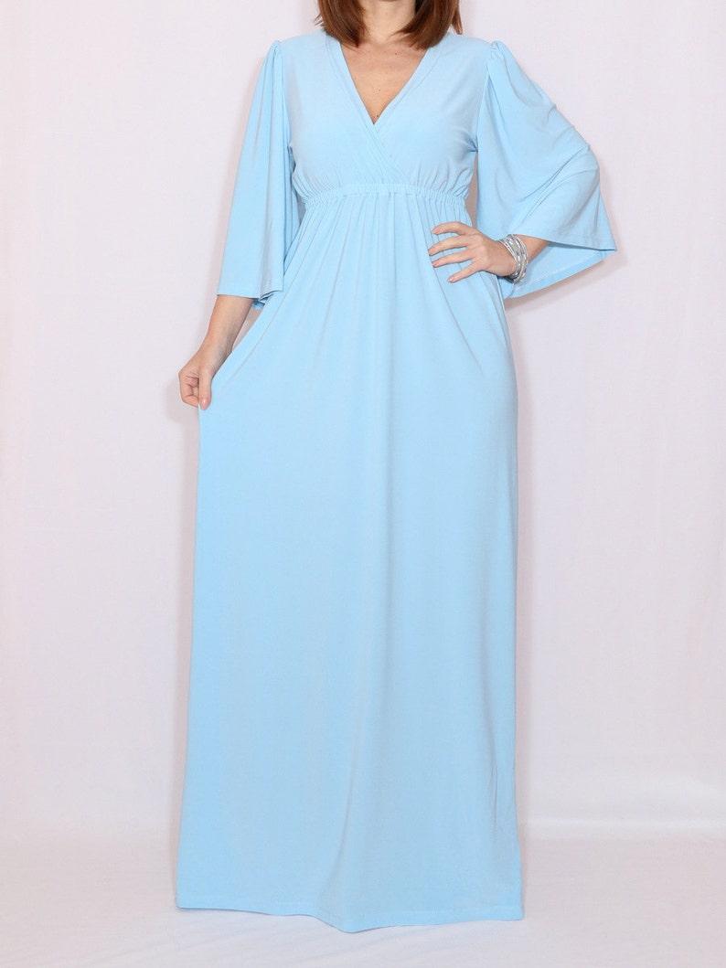 licht blauwe lange jurk