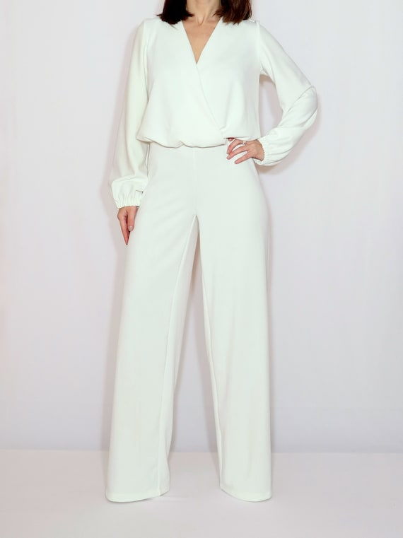 fd5aff367625 Wedding jumpsuit women White long sleeve jumpsuit
