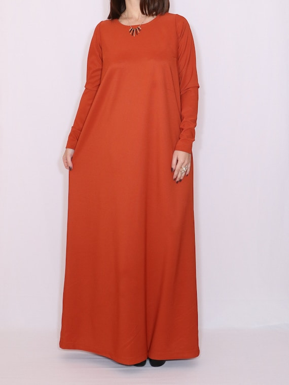 Rust dress Dark orange maxi dress plus size long sleeve Women maxi dress