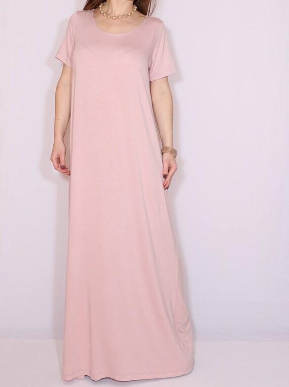 3f5b4160cdc8 Abito maxi fard rosa Loose fit vestito donne maxi abito con