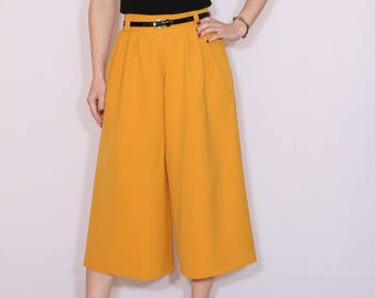 Mustard yellow pants Culottes High waist Wide leg capris with pockets Mid calf trousers