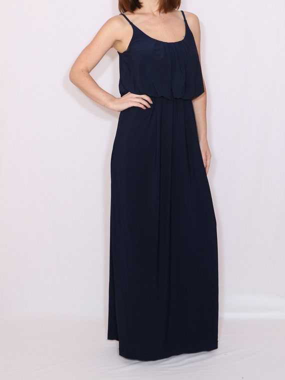 Navy Bridesmaid Dress Long Dark Blue Dress Prom Dress Plus Etsy