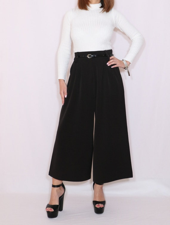 Black Culottes High Waist Wide Leg Pants Wool Pants With Pockets by Etsy