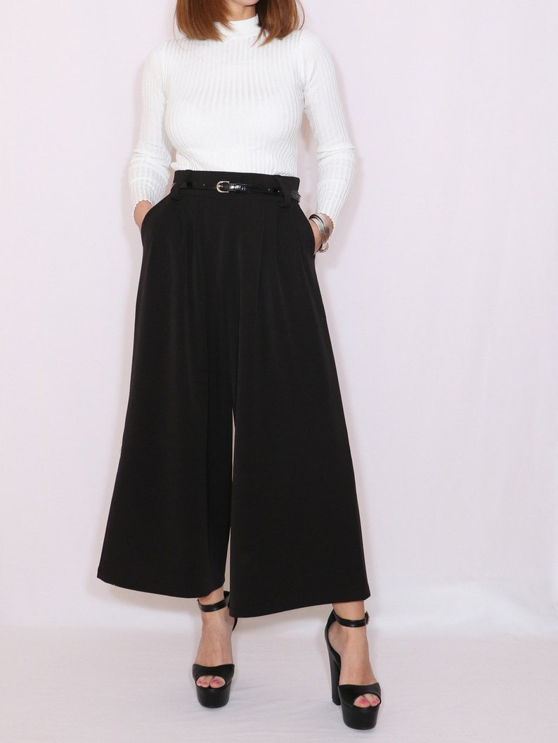 1930s Wide Leg Pants and Beach Pajamas Black wool culottes with pockets $64.00 AT vintagedancer.com