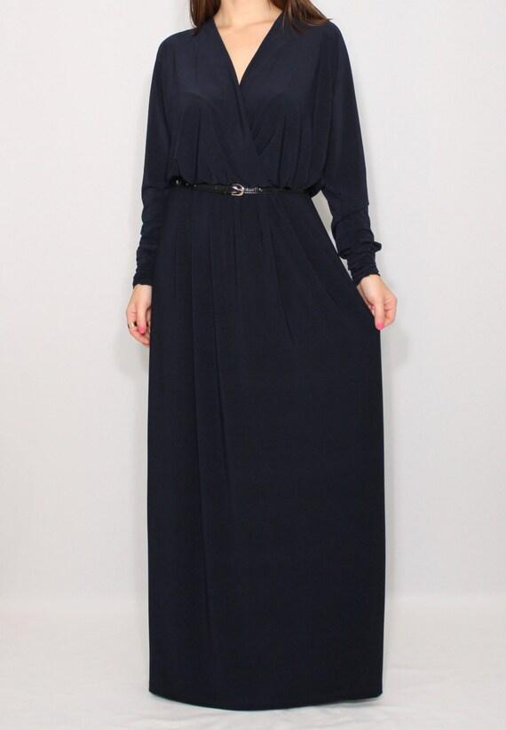 Maxi Dress Long Dress Bohemian Dress Kaftan Maxi Dress Dark Etsy