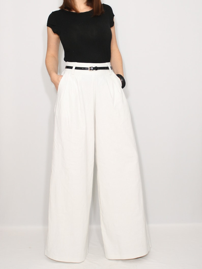 41f5fb5a4bb5 White linen pants with pockets wide leg pants high waisted