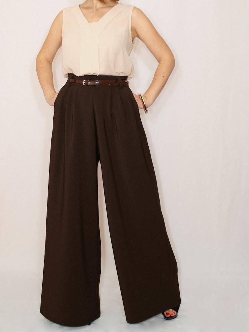 1930s Wide Leg Pants and Beach Pajamas     Brown wide leg trousers formal pants $65.00 AT vintagedancer.com