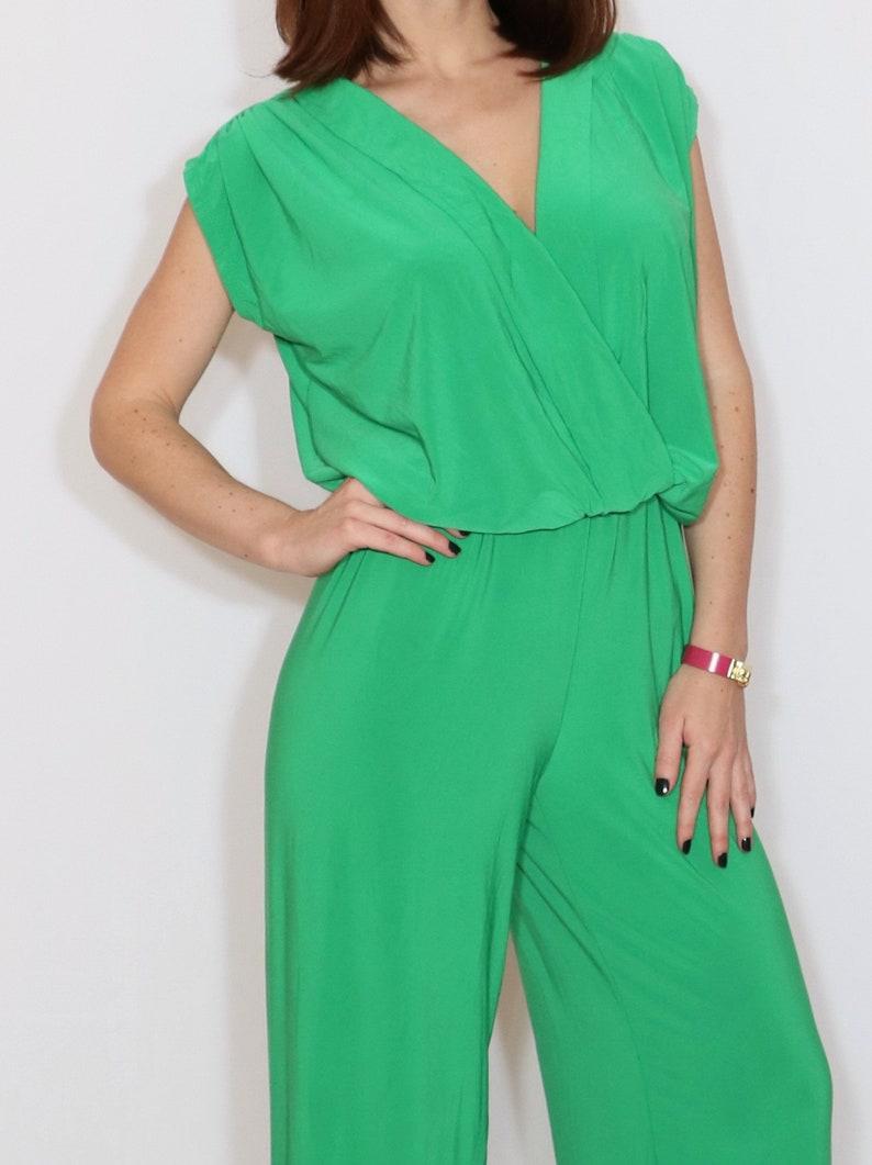 516bbe3b81 Bright green jumpsuit wrap top jumpsuit wide leg jumpsuit