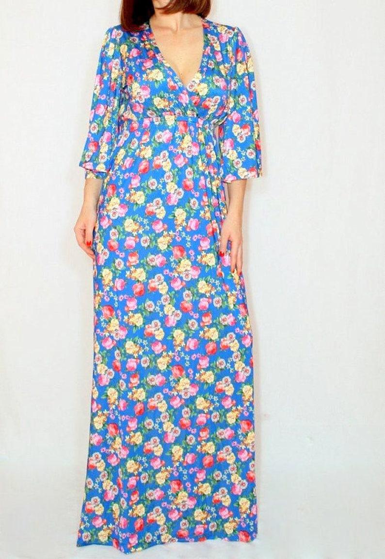 58939e3a599 Size Xl Last size Maxi dress floral dress Blue Long