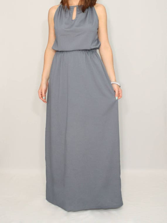 Dark Grey bridesmaid dress long bridesmaid dress chiffon maxi dress