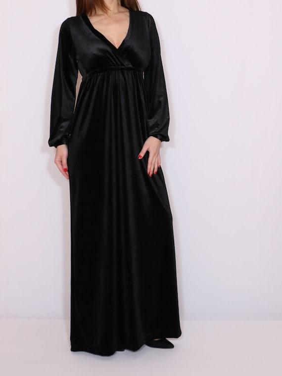 Black Velvet Maxi Dress Empire Waist Long Sleeve Dress Vneck Etsy
