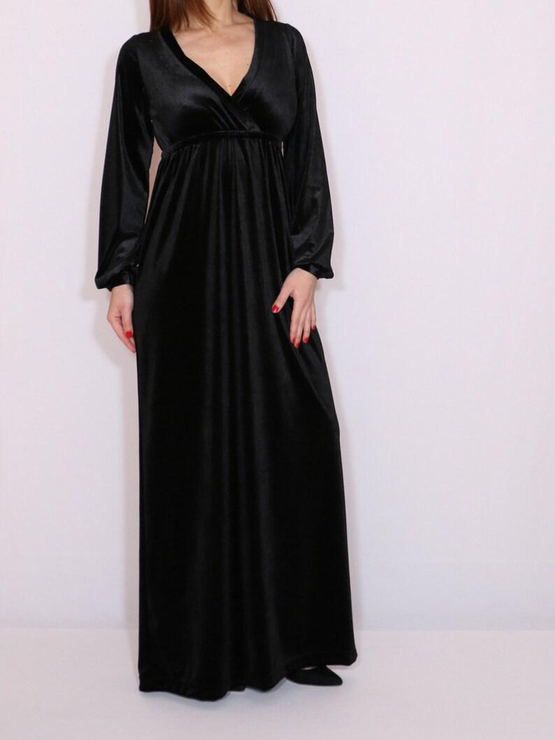 1ae42137894 Black velvet maxi dress Empire waist Long sleeve dress Vneck