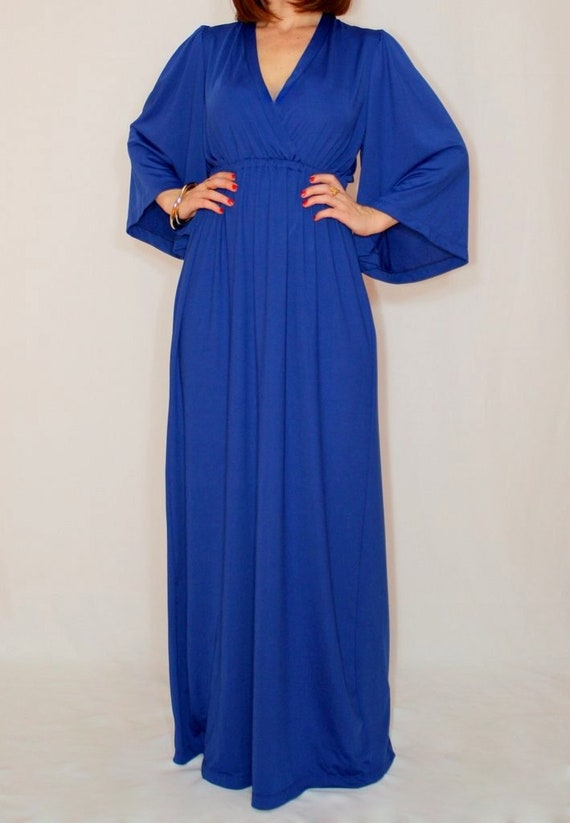 Cobalt blue maxi dress Kimono dress Maternity dress Boho dress Long dress  Empire waist dress Royal blue dress