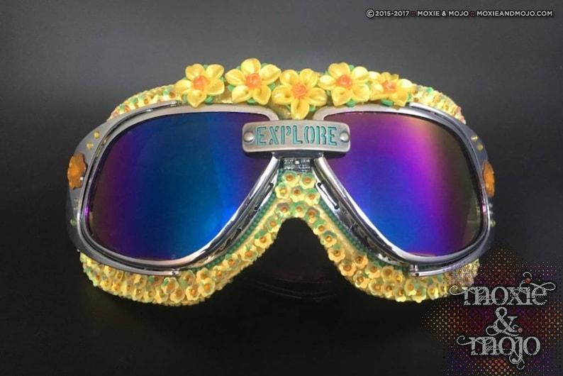 Burning Man Goggles 100/% UV protection. anti-dust Sunshine embellished eyewear