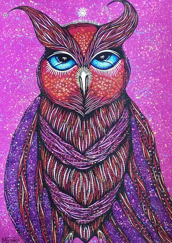 Outlines Of Owl: ORIGINAL ART Color Drawing Animal Art Etsy