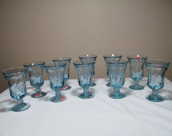 Jamestown Blue Fostoria Glass Set of 10 Juice Stem Glasses MINT