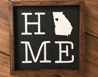 Home State Wood Sign, Farmhouse
