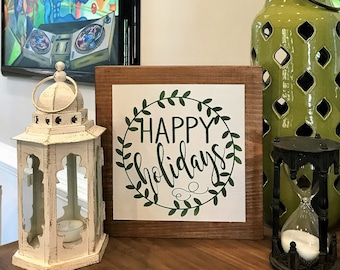 Happy Holidays Wood Sign, Merry Christmas